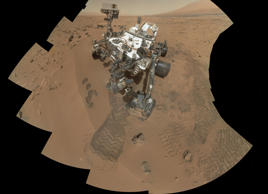 This image released by NASA shows the work site of the NASA's rover Curiosity on Mars.