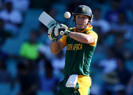 South Africa's AB De Villiers looks to hit the ball during their Cricket World Cup Pool B match against the West Indies in Sydney, Australia, Friday, Feb. 27, 2015.