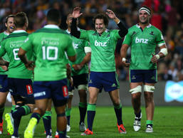 Marty Banks of the Highlanders celebrates after kicking the winning penalty during the round four Super Rugby match between the Chiefs and the Highlanders at Waikato Stadium on March 6, 2015 in Hamilton.