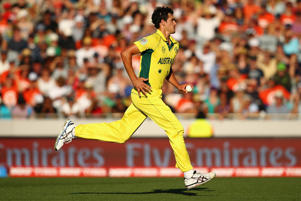 Mitchell Starc of Australia runs in to bowl during the 2015 ICC Cricket World Cup match between Australia and New Zealand at Eden Park on February 28, 2015 in Auckland, New Zealand.