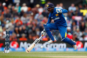 Kumar Sangakkara of Sri Lanka runs into make his crease during the 2015 ICC Cricket World Cup match between Sri Lanka and New Zealand at Hagley Oval on February 14, 2015 in Christchurch, New Zealand.