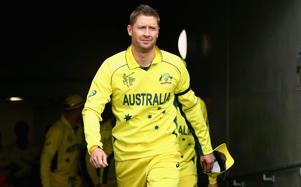 Michael Clarke of Australia leads his team out during the 2015 Cricket World Cup match between Australia and Scotland at Bellerive Oval on March 14, 2015 in Hobart, Australia.