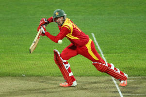 Sean Williams of Zimbabwe bats during the 2015 ICC Cricket World Cup match between Zimbabwe and Ireland at Bellerive Oval on March 7, 2015 in Hobart, Australia.