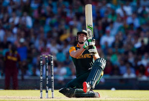 South Africa's AB de Villiers hits a boundary during the Cricket World Cup match against the West Indies at the Sydney Cricket Ground (SCG) February 27, 2015.