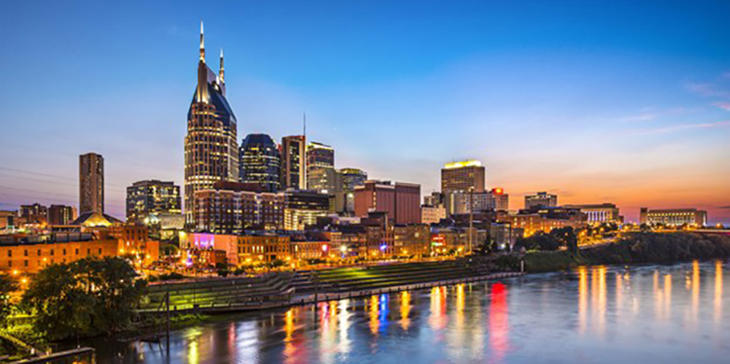 Skyline of downtown Nashville, Tennessee (Shutterstock).