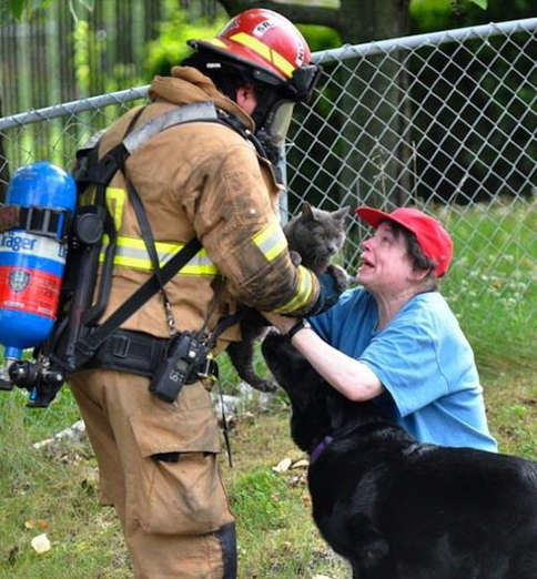 This fireman risked his life to save her cat.