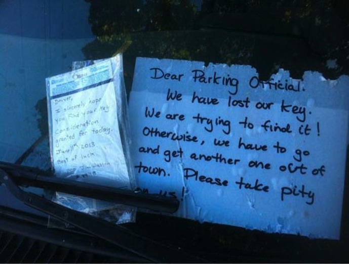 A parking officer takes pity.