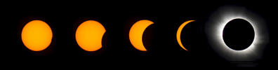A combination photo shows the different phases of the total solar eclipse as it occurred over Longyearbyen on Svalbard March 20.