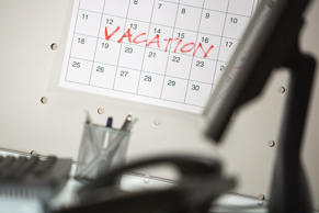 Calendar with vacation week marked