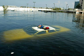 A police car is submerged in New Orleans East August 31, 2005 after Hurricane Katrina hit the area.