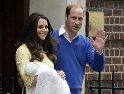 Britain's Prince William and Kate with their daughter outside the hospital.