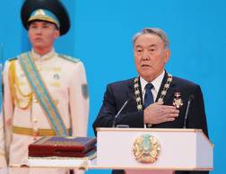 Kazakhstan's President Nursultan Nazarbayev, the 74-year-old incumbent, who has ruled over the former Soviet republic for more than 25 years, takes an oath during a presidential inauguration ceremony in Astana, the capital of Kazakhstan, Wednesday, April 29, 2015.