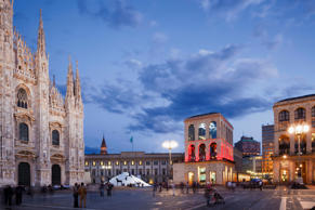 Palazzo Reale and the Twentieth Art Museum at dusk. Slow Images/Getty Images