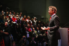 Sen. Rand Paul, R-Ky., speaks to guests gathered at the Point of Grace Church for the Iowa Faith and Freedom Coalition 2015 Spring Kickoff on April 25 in Waukee, Iowa.