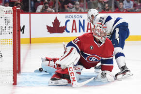 Steven Stamkos of the Tampa Bay Lightning scores against goaltender Carey Price of the Montreal Canadiens in game two of their playoff series May 3 in Montreal. The Lightning won 6-2 to take a 2-0 series lead.