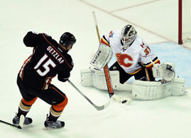 Calgary Flames goalie Karri Ramo (31) makes a save by a shot by Anaheim Ducks center Ryan Getzlaf (15) during second round of the 2015 Stanley Cup Playoffs.