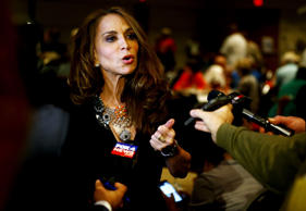 Political blogger Pamela Geller, American Freedom Defense Initiative's Houston-based founder, speaks at the Muhammad Art Exhibit and Contest, which is sponsored by the American Freedom Defense Initiative, in Garland, Texas May 3, 2015. Two gunmen opened fire on Sunday at the art exhibit in Garland, Texas, that was organized by an anti-Islamic group and featured caricatures of the Prophet Mohammad and were themselves shot dead at the scene by police officers, city officials and police said.
