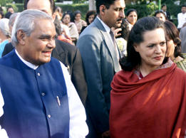 File: Indian Prime Minister Atal Behari Vajpayee (L) meets with Sonia Gandhi, leader of India's main opposition Congress party, in New Delhi on March 8, 2001.