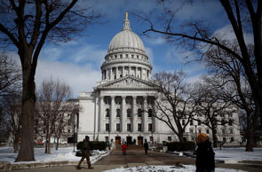 MADISON, WI - MARCH 06:  A general view of the Wisconsin State Capitol on March 6, 2011 in Madison, Wisconsin.  Demonstations continue at the Wisconsin State Capitol against Governor Scott Walker's attempt to push through a bill that would restrict collective bargaining for most government workers in the state.  (Photo by Justin Sullivan/Getty Images)
