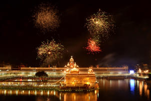 Fireworks  are seen over the illuminated Golden Temple, the Sikhs holiest shrine,  in Amritsar, India.