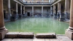 A view of the interior of Roman baths in Bath, England.