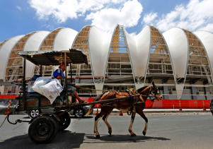 A horse carriage in Porto Alegre, Brazil. These provide tourists with a quick and enjoyable way to see the city.