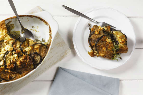 Vegetarian moussaka with aubergines, potatoes and lentils