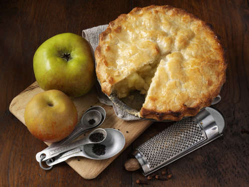 Apple pie with ingredients