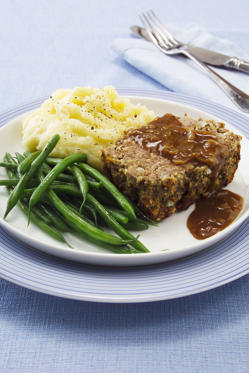 Beef and Horseradish Meat Loaf with mashed potato, green beans and gravy