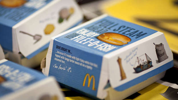 Filet-O-Fish sandwiches sit on a tray at a McDonald's restaurant in Little Falls, New Jersey, Wednesday, February 15, 2011.  Emile Wamsteker/Bloomberg News