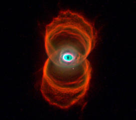 The sands of time are running out for the central star of this hourglass-shaped planetary nebula. With its nuclear fuel exhausted, this brief, spectacular, closing phase of a Sun-like star's life occurs as its outer layers are ejected - its core becoming a cooling, fading white dwarf. In 1995, astronomers used the Hubble Space Telescope (HST) to make a series of images of planetary nebulae, including the one above. Here, delicate rings of colorful glowing gas (nitrogen-red, hydrogen-green, and oxygen-blue) outline the tenuous walls of the hourglass. The unprecedented sharpness of the HST images has revealed surprising details of the nebula ejection process that are helping to resolve the outstanding mysteries of the complex shapes and symmetries of planetary nebulas.