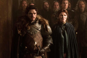 Richard Madden, who plays Robb Stark in the show, is seen with Michelle Fairley.