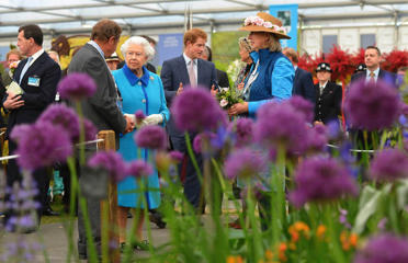 Britain's Queen Elizabeth speaks during a visit to the Chelsea Flower Show on press day in London, Britain May 18, 2015.