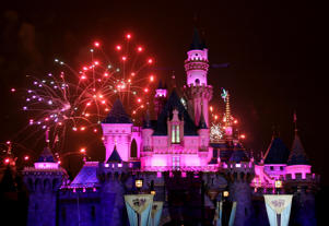 A file photo of fireworks during  Disneyland's 50th anniversary at the Disneyland theme park in California.