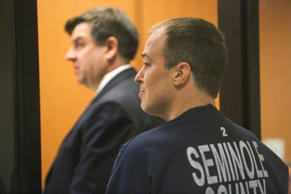Matthew Apperson, 35 of Winter Springs, Fla., makes a first appearance in Seminole County court at the John E Polk correctional facility in Sanford, Fla. on Saturday May 16, 2015. Apperson was charged Friday with aggravated assault with a deadly weapon, aggravated battery with a deadly weapon and firing a deadly missile into an occupied conveyance stemming from an incident involving George Zimmerman earlier in the week.