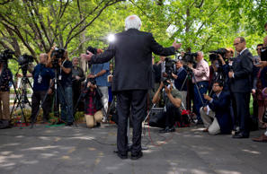 Sen. Bernie Sanders, I-Vt., speaks to the media about his agenda in running for president, Thursday, April 30, 2015, on Capitol Hill in Washington.