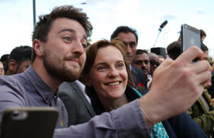 Ed Miliband's wife Justine takes selfie with a fan