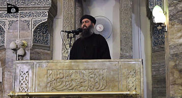 Video still of the leader of the militant Islamic State Abu Bakr al-Baghdadi.