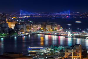 Istanbul skyline at night.