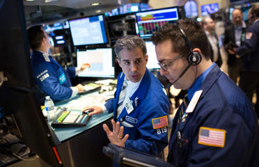 Exchange at the end of the trading day in New York City. During today's trading the DOW plunged over 200 points.