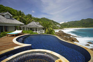 A Swimming pool, belonging to a hotel room of the Banyan Tree Hotel, Seychelles.