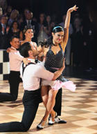 "Rumer Willis performs with Val Chmerkovskiy during ""Dancing with the Stars."""