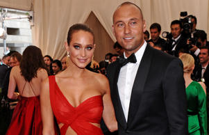 "Derek Jeter, right, and Hannah Davis arrive at The Metropolitan Museum of Art's Costume Institute benefit gala celebrating ""China: Through the Looking Glass"" on Monday, May 4, 2015, in New York."