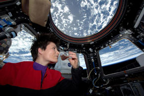 Italian astronaut Samantha Cristoforetti sips espresso from a cup designed for use in zero-gravity, on the International Space Station. Cristoforetti, the first Italian woman in space, fired up the first espresso machine in space, which uses small capsules, or pods, of espresso coffee.