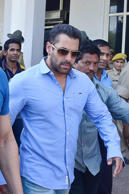 File: Jodhpur : Bollywood actor Salman Khan arrives at the airport to appear before Jodhpur Court for recording his statement in Black Buck poaching case on April 29, 2015.