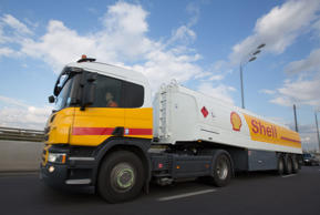A new Royal Dutch Shell Plc fuel tanker truck drives on a road in Moscow, Russia, on Tuesday, Sept. 30, 2014