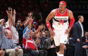 Paul Pierce of the Washington Wizards runs down court after making a shot during an NBA playoffs game against the Atlanta Hawks on May 9, 2015, in Washington, DC.