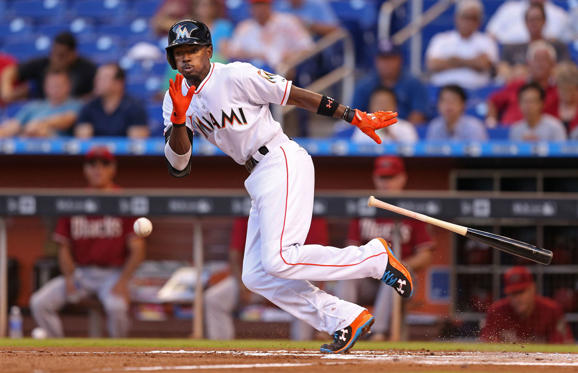 Dee Gordon of the Miami Marlins bunts during the first inning against the Arizona Diamondbacks at Marlins Park on May 20 in Miami. The Diamondbacks won 6-1.