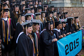 Seniors stand for a class photo before the final commencement ceremony at Sweet Briar College in Virginia.