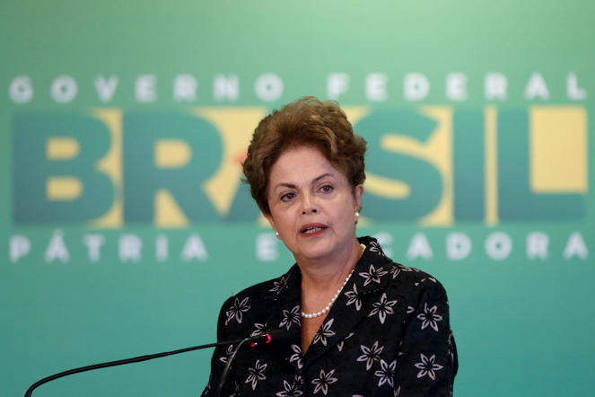 Brazil's President Dilma Rousseff, speaks during ceremony to launch measures for the modernization of soccer, at the Planalto Presidential Palace, in Brasilia, Thursday, March 19, 2015. The measures presents, among other topics, the organization and management of the sport in the country and debt renegotiation of football clubs with the government. (AP Photo/Eraldo Peres)